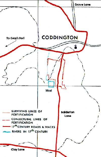 Map of siegeworks at Coddington